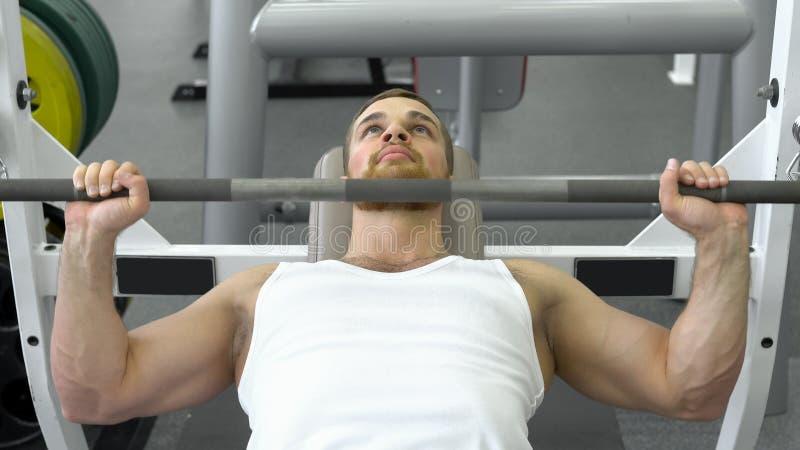 Deportista apto de los jóvenes que hace el banco del barbell que presiona mientras que ejercita en el club de fitness Hombre musc foto de archivo