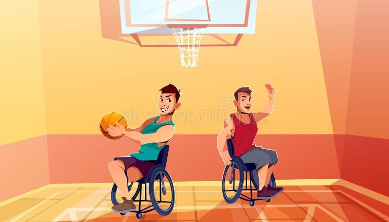 Deportista en la silla de ruedas que juega vector del baloncesto ilustración del vector