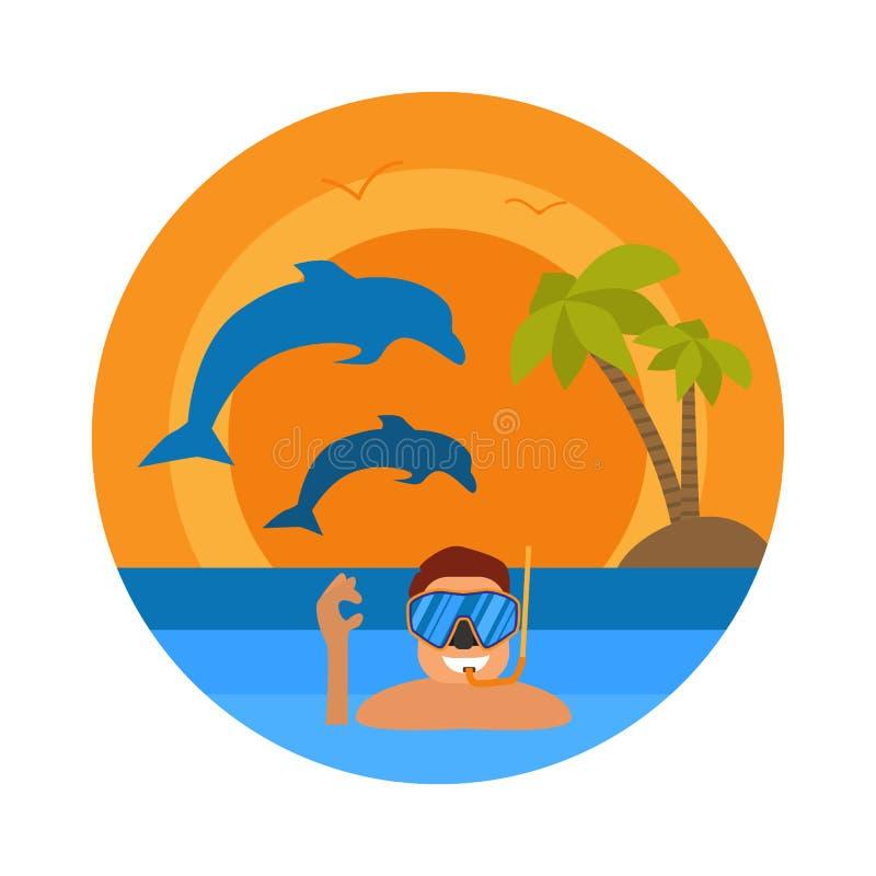 Deportista subacuático con la máscara y las aletas del tubo respirador Hombre del buceador en icono redondo del traje de salto Co ilustración del vector