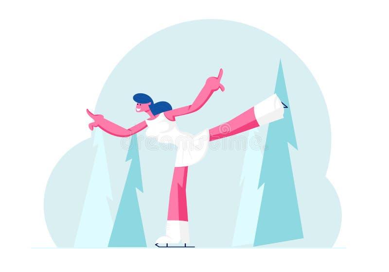 Deportista vestida de blanco, programa individual para concurso de patinaje artístico con danza en pista de hielo ilustración del vector