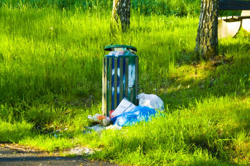 Deposed garbage at a rest stop in Hesse, Germany stock image