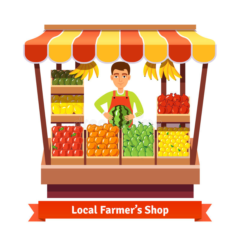 Depositário local da loja do produto do fazendeiro ilustração stock
