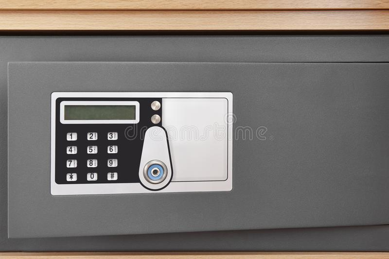 Deposit box with numeric code locker and security camera stock photos