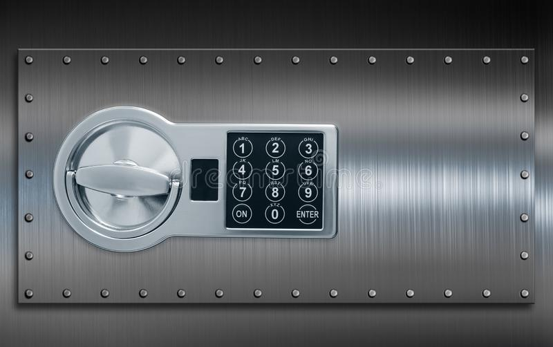 Deposit cell safe box door with code lock 3d illustration royalty free stock photography