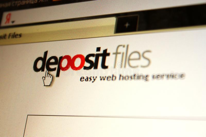 Deposit files service page. Deposit files web hosting service page royalty free stock photography