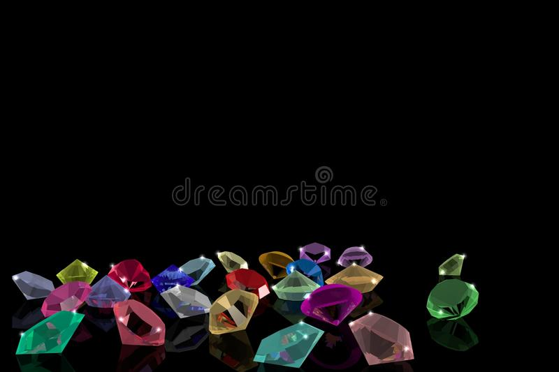 A Deposit of precious stones on the mirror surface. stock illustration