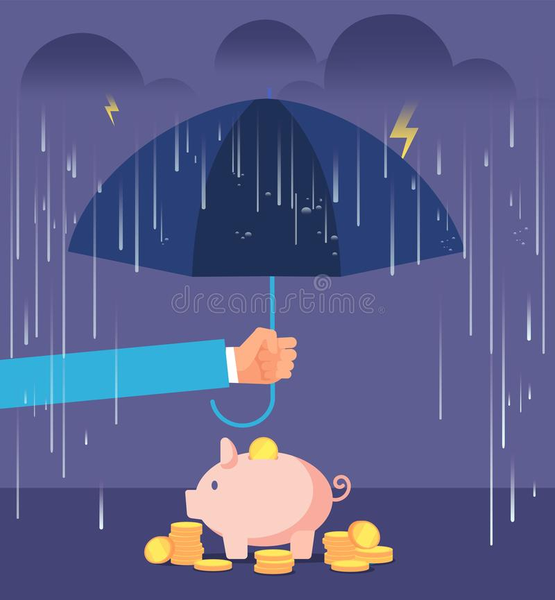 Deposit protection concept. Hand with umbrella protecting piggy bank from rain and storm. Deposit insurance vector stock illustration