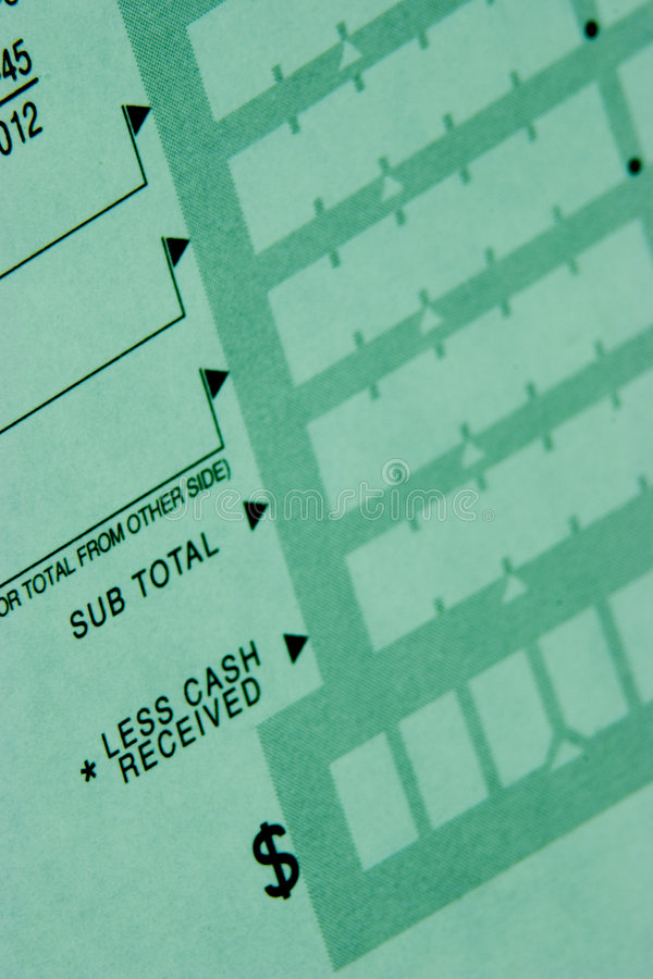 Free Deposit Slip From Checking Account Royalty Free Stock Image - 21496