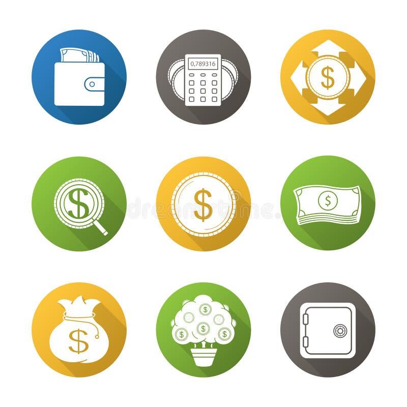Depositando e iconos largos de la sombra del diseño plano de las finanzas fijados libre illustration