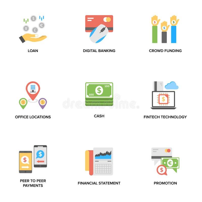 Depositando e iconos planos de las finanzas fijados ilustración del vector