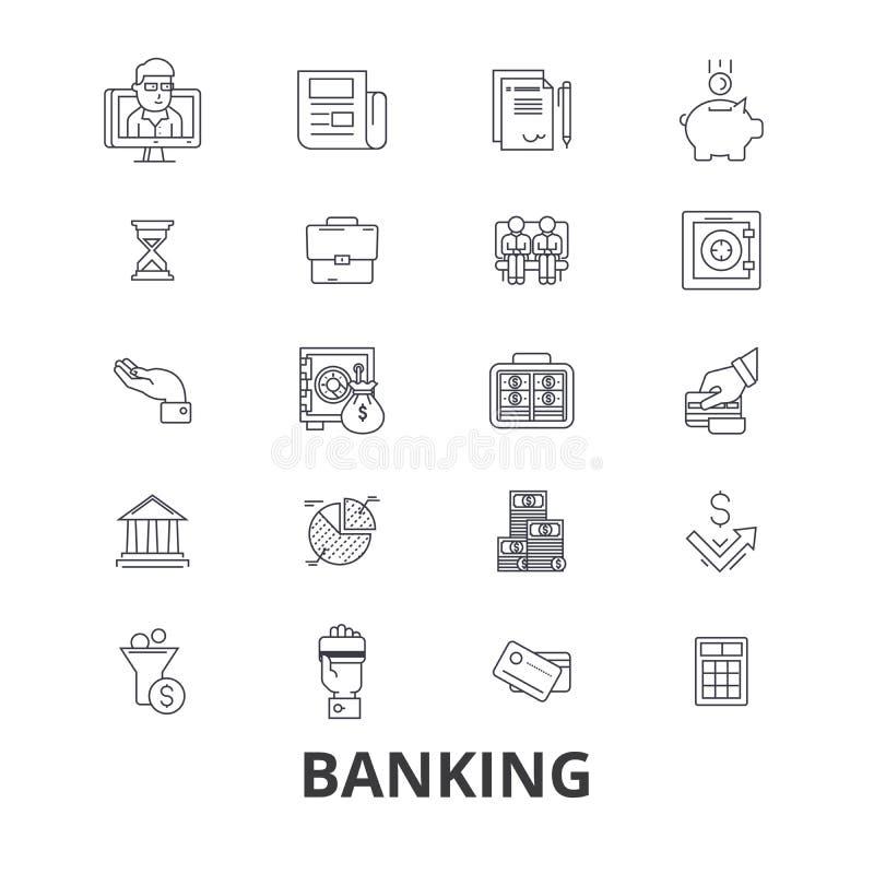 Depositando, finança, dinheiro, banqueiro, leitão, negócio, cartão de crédito, linha ícones do cofre-forte de banco Cursos editáv ilustração royalty free