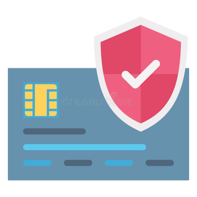 Depositando la protección, icono aislado seguridad del vector de la tarjeta de crédito que puede ser corregido fácilmente ilustración del vector