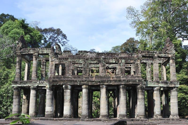 Depositarry av buddistiska texter i Preah Khan arkivfoton