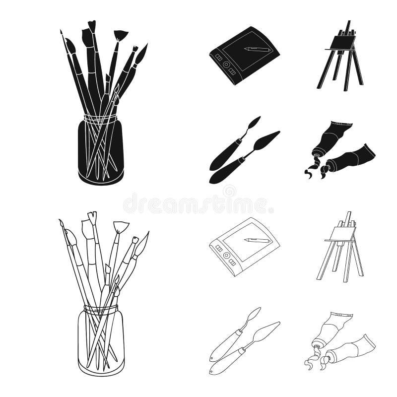 Deposite com escovas, uma mesa de projeto, uma armação com uma lona, facas da pintura Ícones ajustados da coleção do artista e do ilustração stock