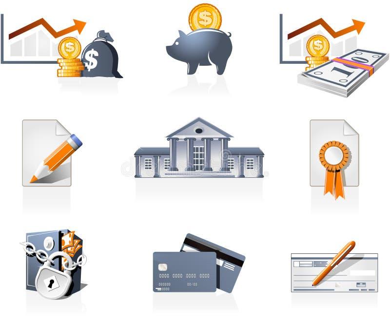 Deposite e financie ícones ilustração do vetor