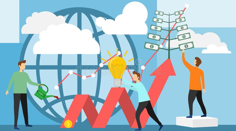 Deposite o negócio crescente do lucro e da riqueza As pessoas dos trabalhos de equipe cultivam o dinheiro para financiar o negóci ilustração royalty free