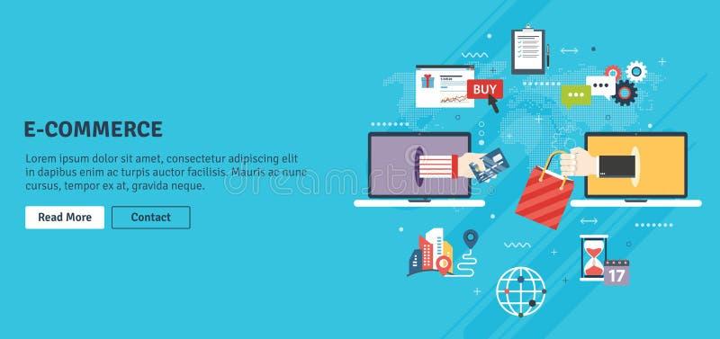 Deposito, acquisto online e commercio elettronico illustrazione di stock