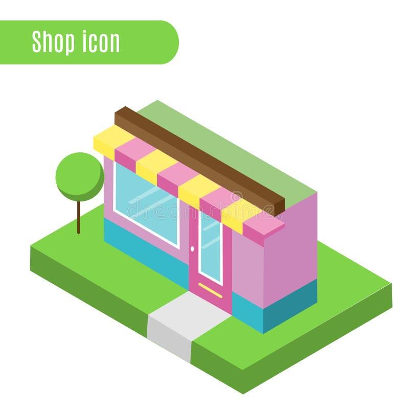 Deposito del fumetto, negozio, caffè Illustrazione di vettore Icona isometrica, elemento infographic della città, progettazione d illustrazione vettoriale