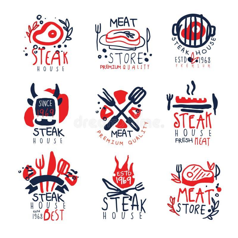 Deposito della carne, insieme premio del modello di logo di qualità dello steakhouse, illustrazioni disegnate a mano variopinte d illustrazione vettoriale