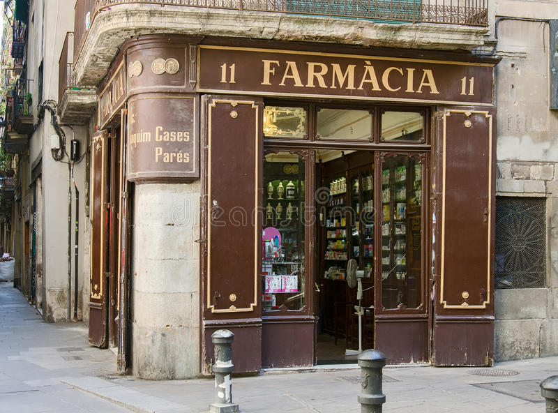 Deposito della farmacia a Barcellona fotografie stock libere da diritti