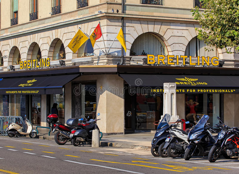 Deposito di Breitling a Ginevra, Svizzera fotografia stock libera da diritti