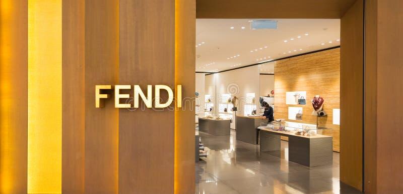 Deposito di Fendi nel centro commerciale di Suria KLCC, Kuala Lumpur fotografie stock libere da diritti