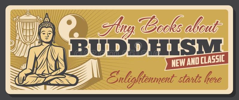 Deposito di libri di religione e di chiarimento di buddismo royalty illustrazione gratis