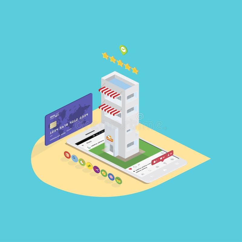 deposito isometrico di concetto 3D nelle reti sociali Comperi sullo smartphone con le icone e la carta di credito Illustrazione E royalty illustrazione gratis