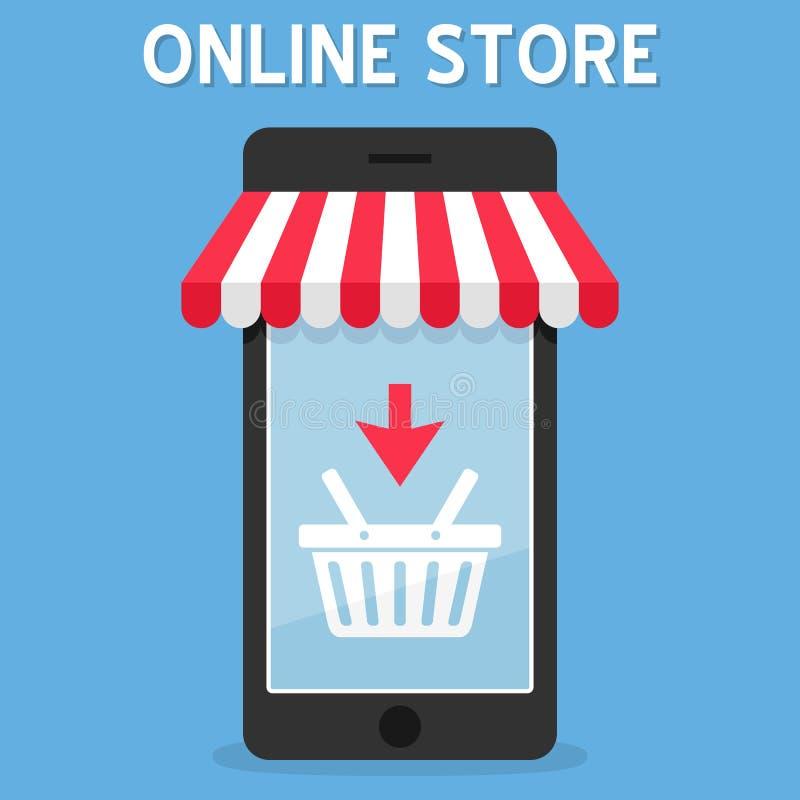 Deposito online della tenda su Smartphone illustrazione vettoriale