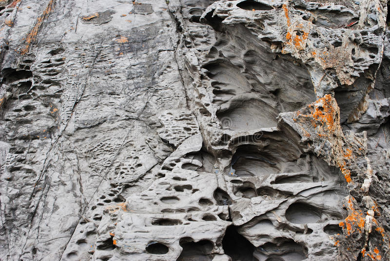 Deposits, Honeycomb Weathering and Coastal Rock Formations royalty free stock photos