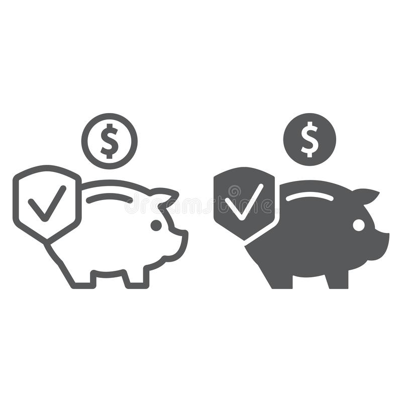 Depozytowego ubezpieczenia linia, glif ikona, bezpieczeństwo i finanse, pieniądze ochrony znak, wektorowe grafika, liniowy wzór n royalty ilustracja
