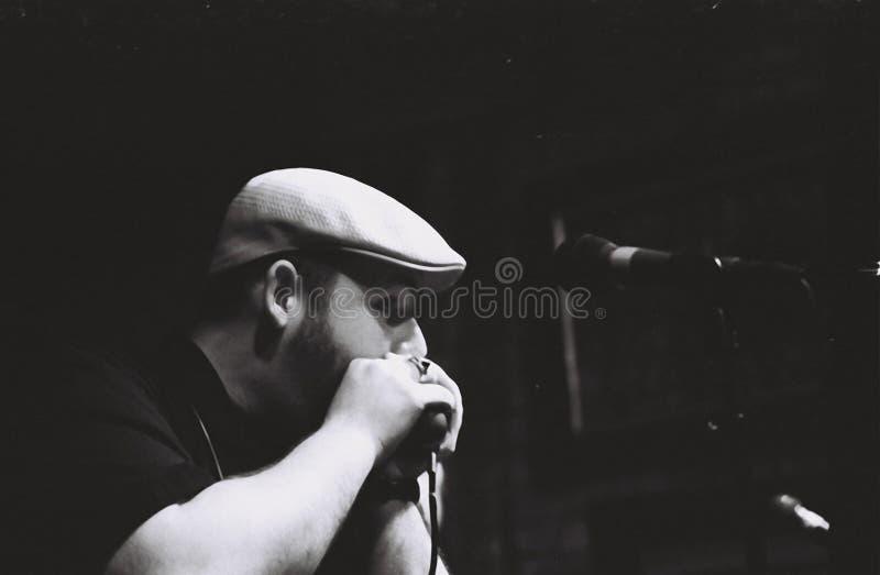 Deppighetinspelningkonstnär, Brandon Santini On Beale Street i Memphis, TN royaltyfri fotografi