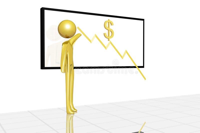 Depreciação do valor do dólar ilustração do vetor