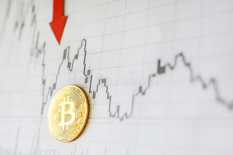 Depreciation of virtual money bitcoin. Exchange rate depreciation. Red arrow and golden Bitcoin ladder on paper forex chart royalty free stock image