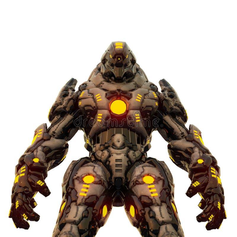 Depredador del desierto y robot que brilla intensamente amarillo en un fondo blanco stock de ilustración