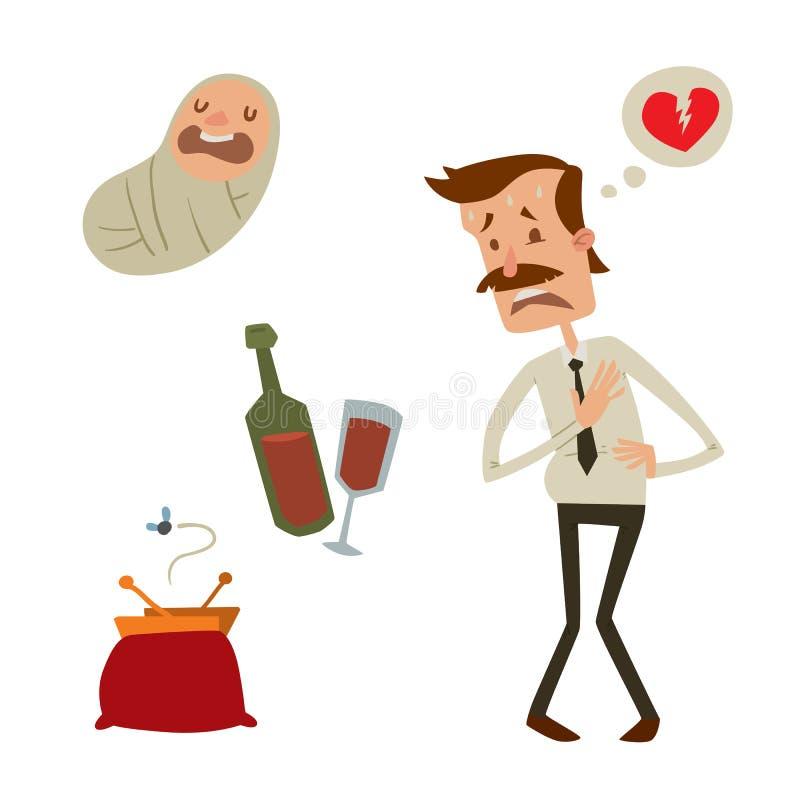 Depresión dañina de consumición del alcohol del ejemplo del vector del infarto de la tensión del ataque del corazón al hombre del libre illustration