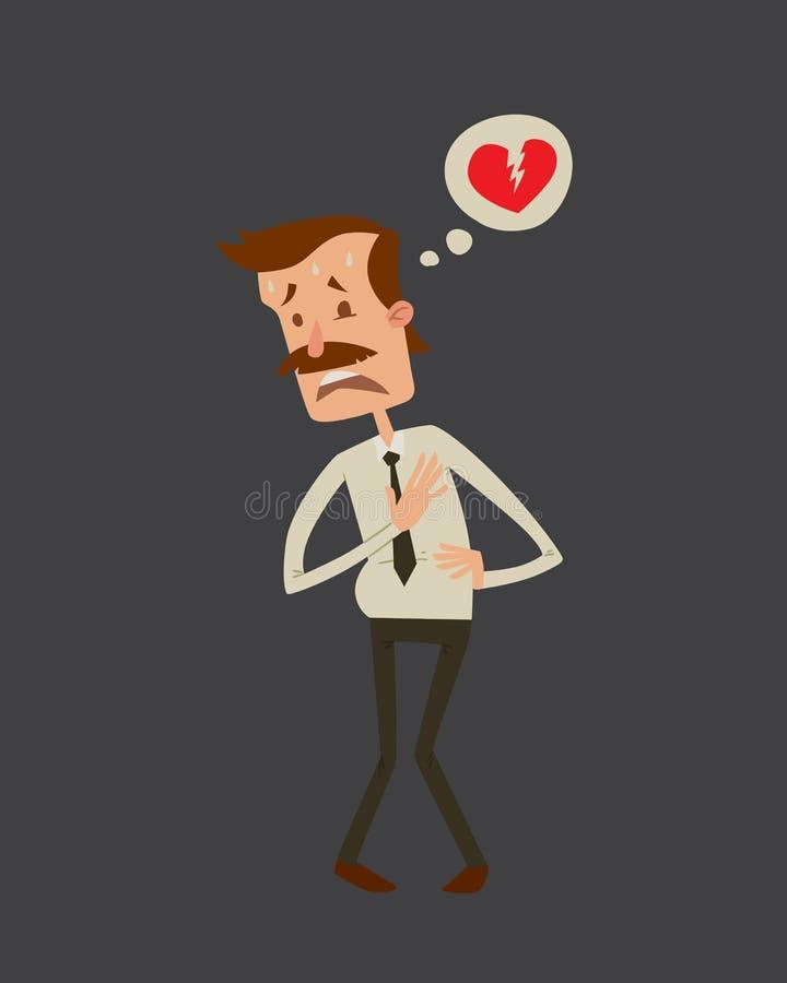 Depresión dañina de consumición del alcohol del ejemplo del vector del infarto de la tensión del ataque del corazón al hombre del stock de ilustración