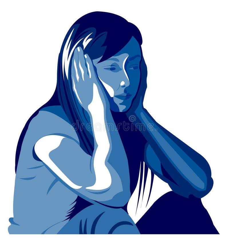 Depresión de la mujer, abuso, golpeo, muchacha, violencia contra mujeres, amor stock de ilustración