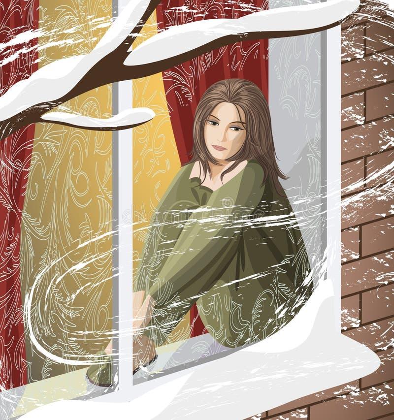 Depresión del invierno stock de ilustración