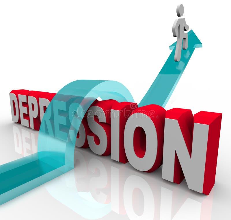 Depresión - saltando sobre la palabra stock de ilustración