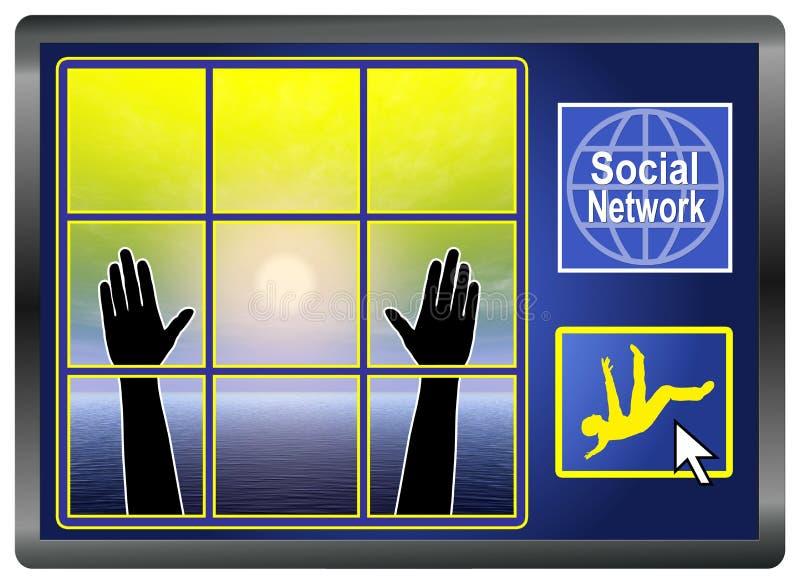 Depresión social de la red ilustración del vector