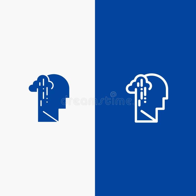 Depresja, żal, istota ludzka, melancholia, Błękitnej ikony błękita Stały sztandar, Smutnej linii, glifu Stałej ikony sztandaru gl royalty ilustracja