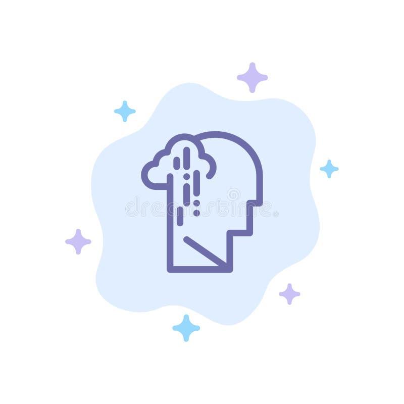 Depresja, żal, istota ludzka, melancholia, Smutna Błękitna ikona na abstrakt chmury tle ilustracja wektor