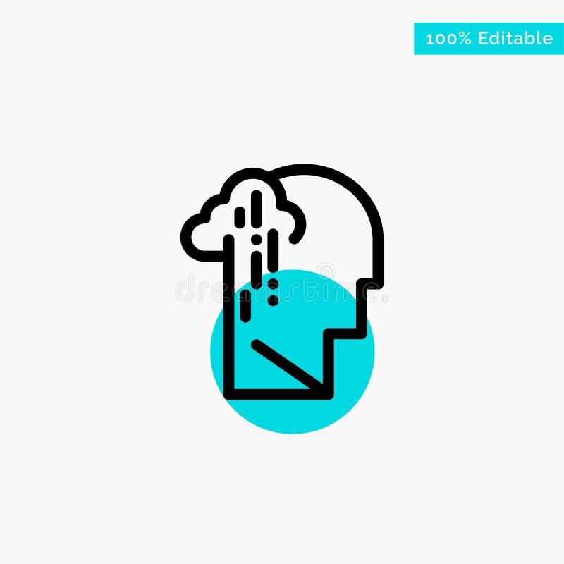 Depresja, żal, istota ludzka, melancholia, Smutna turkusowa główna atrakcja okręgu punktu wektoru ikona ilustracja wektor
