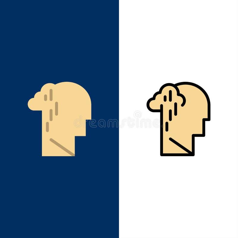 Depresja, żal, istota ludzka, melancholia, Smutne ikony Mieszkanie i linia Wypełniający ikony Ustalony Wektorowy Błękitny tło ilustracji