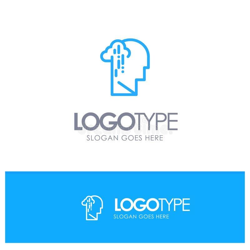 Depresja, żal, istota ludzka, melancholia, Smutny Błękitny konturu logo z miejscem dla tagline royalty ilustracja