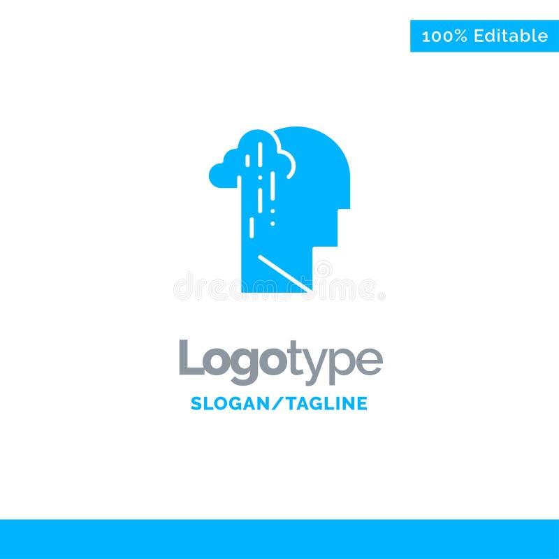 Depresja, żal, istota ludzka, melancholia, Smutny Błękitny Stały logo szablon Miejsce dla Tagline royalty ilustracja