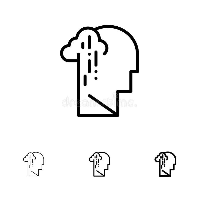 Depresja, żal, istota ludzka, melancholia, Smutny czerni linii ikony set, Śmiały i cienki ilustracja wektor