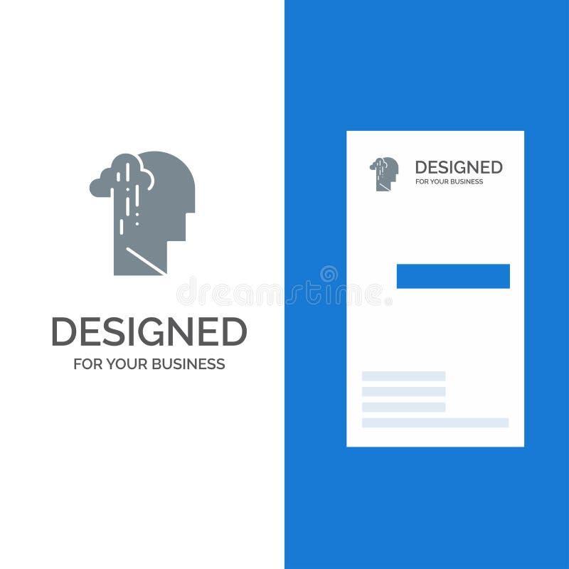Depresja, żal, istota ludzka, melancholia, Smutny Popielaty logo projekt i wizytówka szablon, ilustracja wektor