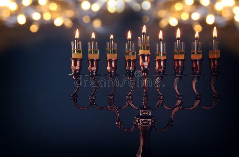 Depresja kluczowy wizerunek żydowski wakacyjny Hanukkah tło obrazy royalty free